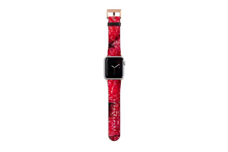 For Apple Watch Band 40mm/38mm PU Leather Rose Gold Lugs  Raspberries Texture