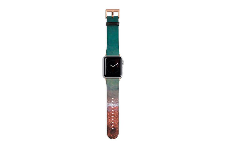 For Apple Watch Band 40mm/38mm PU Leather Rose Gold Lugs  Red & Blue Shore