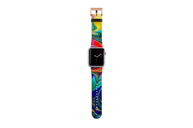 For Apple Watch Band 40mm/38mm PU Leather Rose Gold Lugs  Red Flowing Rainbow