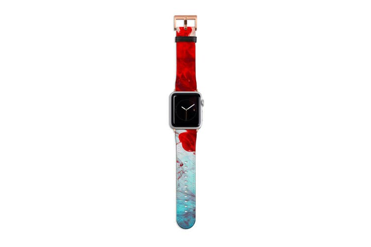 For Apple Watch Band 40mm/38mm PU Leather Rose Gold Lugs  Red Yellow & Blue