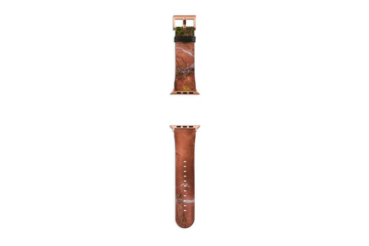 For Apple Watch Band 40mm/38mm PU Leather Rose Gold Lugs  Red Sandy Dunes