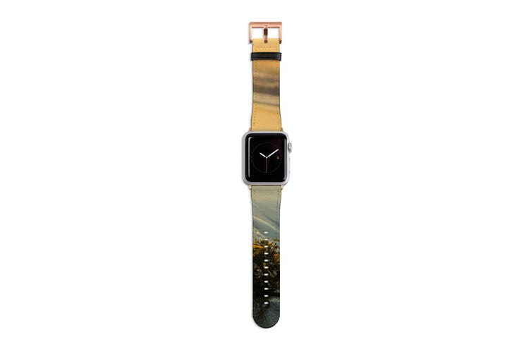 For Apple Watch Band 40mm/38mm PU Leather Rose Gold Lugs  Seaweed Sunset