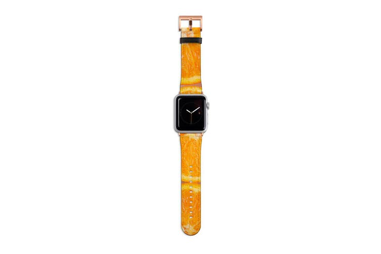For Apple Watch Band 40mm/38mm PU Leather Rose Gold Lugs  Sliced Oranges