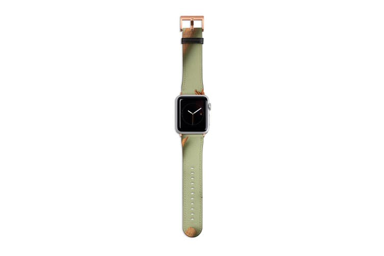 For Apple Watch Band 40mm/38mm PU Leather Rose Gold Lugs  Star Anise & Cinnamon