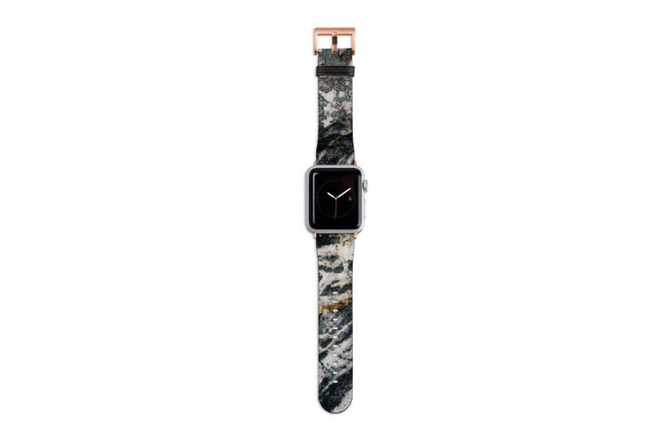 For Apple Watch Band 40mm/38mm PU Leather Rose Gold Lugs  Stone Pattern