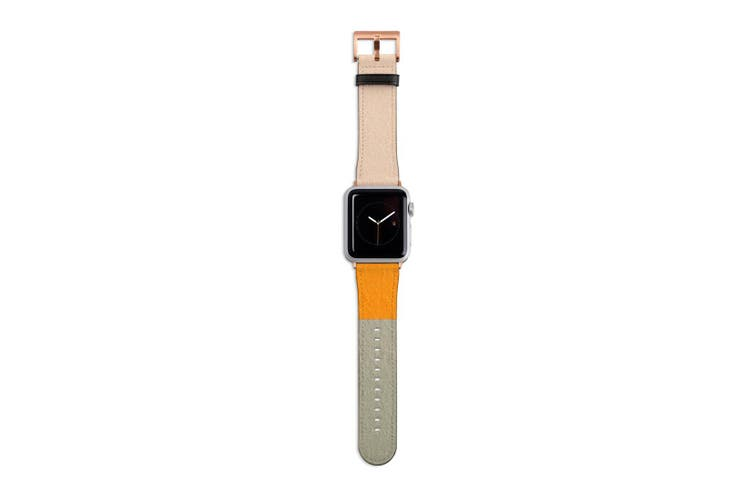 For Apple Watch Band 40mm/38mm PU Leather Rose Gold Lugs  Sundown