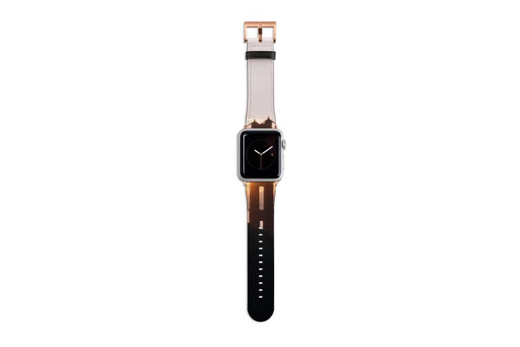 For Apple Watch Band 40mm/38mm PU Leather Rose Gold Lugs  Golden Gate Sunset
