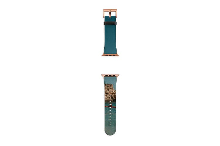 For Apple Watch Band 40mm/38mm PU Leather Rose Gold Lugs  The Kayak & The Rock