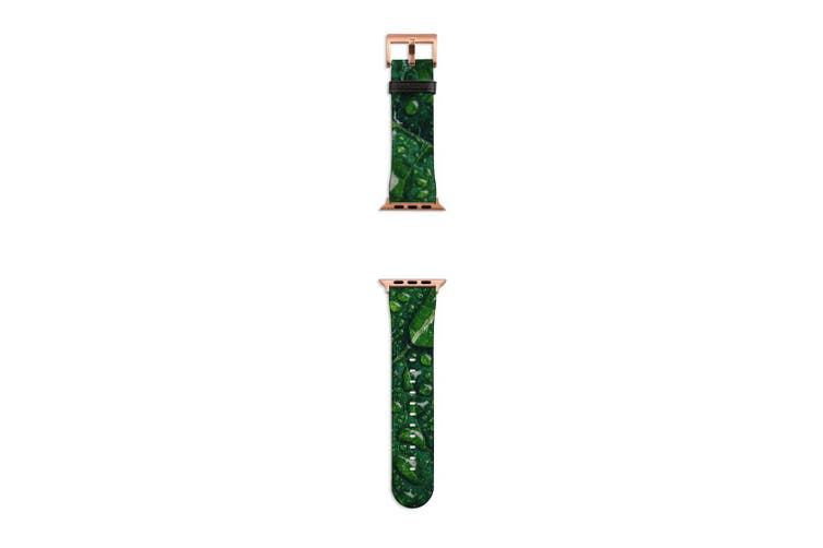 For Apple Watch Band 40mm/38mm PU Leather Rose Gold Lugs  Water Droplets Green