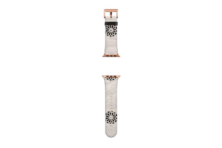 For Apple Watch Band 40mm/38mm PU Leather Rose Gold Lugs  White Wall Flower