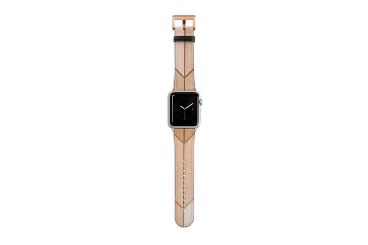 For Apple Watch Band 40mm/38mm PU Leather Rose Gold Lugs  Wooden Effect Tiles
