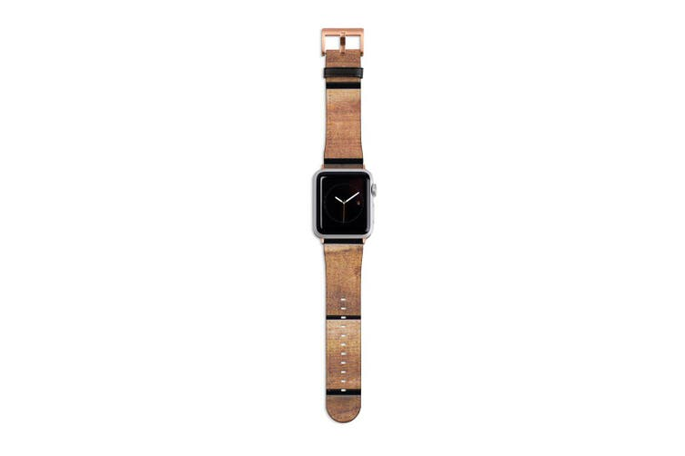 For Apple Watch Band 40mm/38mm PU Leather Rose Gold Lugs  Wooden Table Texture