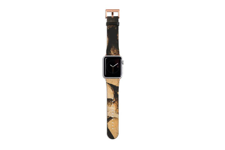 For Apple Watch Band 40mm/38mm PU Leather Rose Gold Lugs  Wood Pile