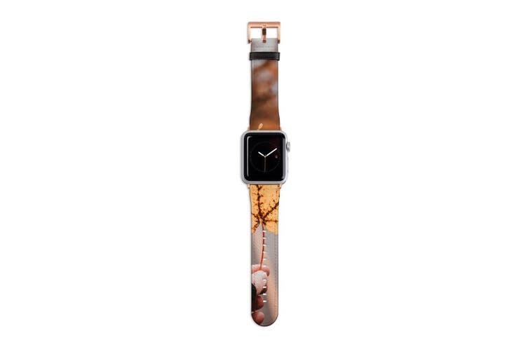 For Apple Watch Band 40mm/38mm PU Leather Rose Gold Lugs  Yellow Maple Leaf