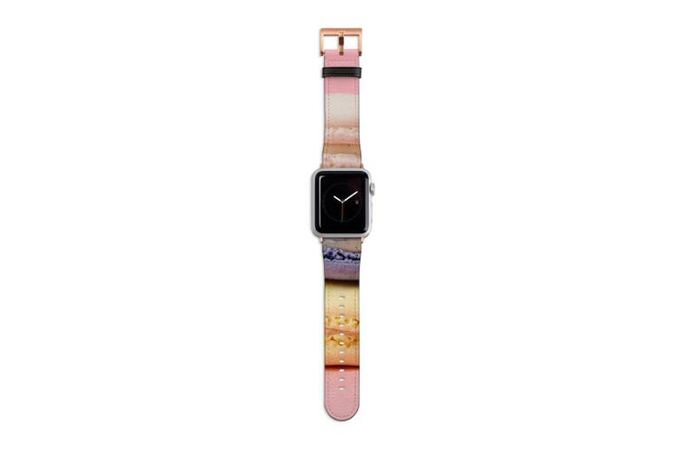 For Apple Watch Band 40mm/38mm PU Leather Rose Gold Lugs  Colourful Macarons