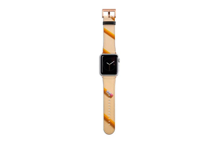 For Apple Watch Band 40mm/38mm PU Leather Rose Gold Lugs  Yellow Pencils
