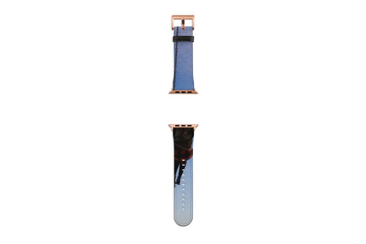 For Apple Watch Band 40mm/38mm PU Leather Rose Gold Lugs  Swing to the Sky