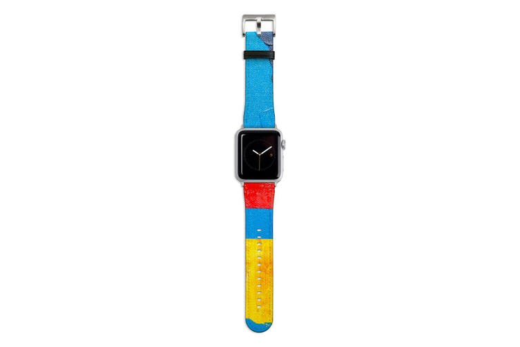 For Apple Watch Band 44mm/42mm PU Leather Silver Lugs  Blue Red Yellow