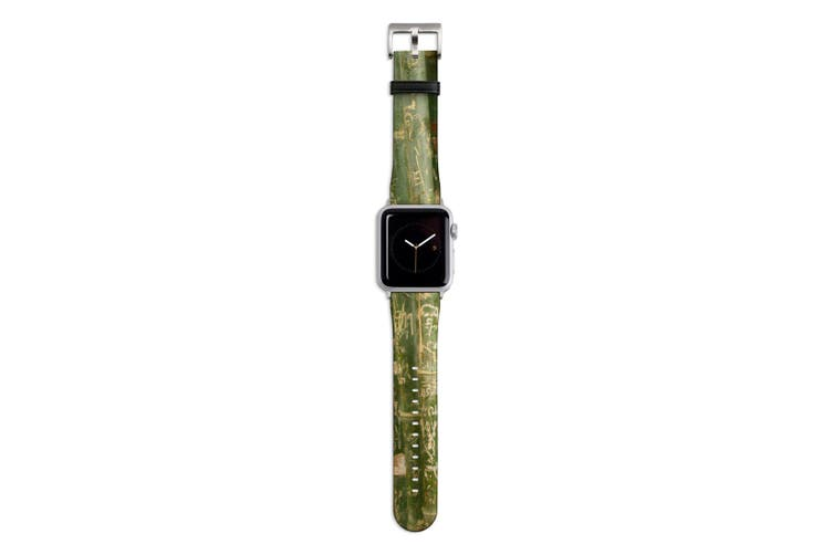 For Apple Watch Band 44mm/42mm PU Leather Silver Lugs  Bamboo With Engravings