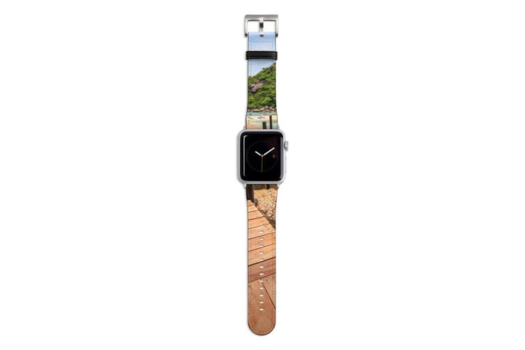 For Apple Watch Band 44mm/42mm PU Leather Silver Lugs  Boardwalk By The Ocean