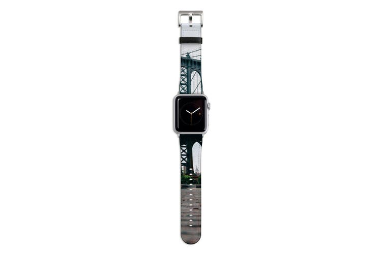 For Apple Watch Band 44mm/42mm PU Leather Silver Lugs  Brick Street