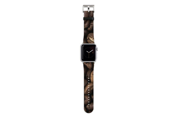 For Apple Watch Band 44mm/42mm PU Leather Silver Lugs  Coffee Beans