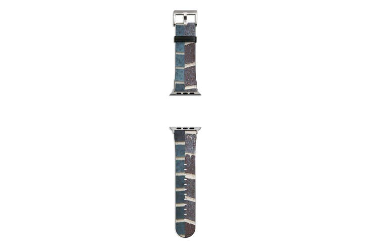 For Apple Watch Band 44mm/42mm PU Leather Silver Lugs  Dark Brick Texture