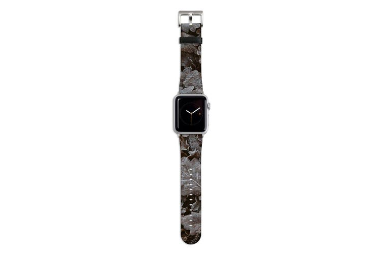For Apple Watch Band 44mm/42mm PU Leather Silver Lugs  Frozen Forest Leaves