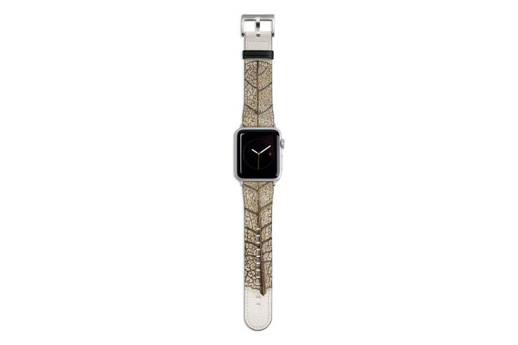 For Apple Watch Band 44mm/42mm PU Leather Silver Lugs  Golden Leaf