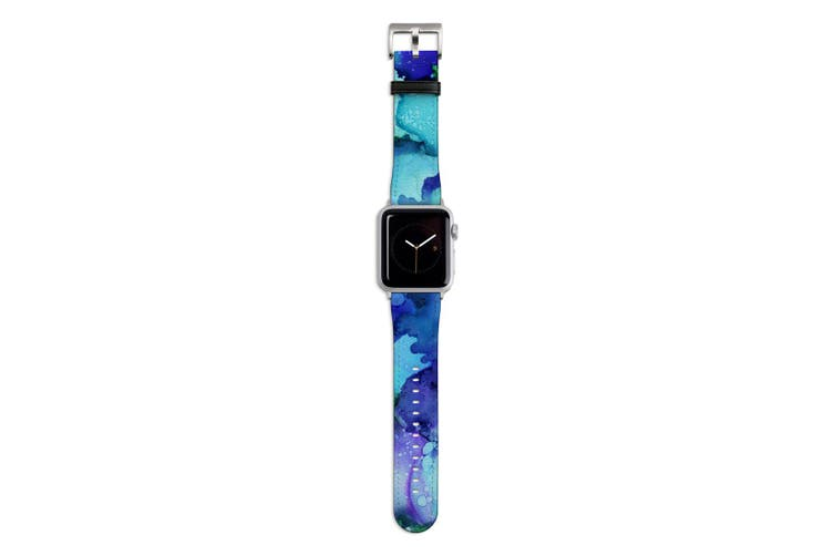 For Apple Watch Band 44mm/42mm PU Leather Silver Lugs  Green Blue Watercolour