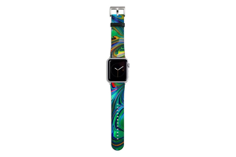 For Apple Watch Band 44mm/42mm PU Leather Silver Lugs  Green Flowing Rainbow