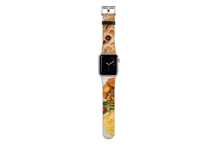 For Apple Watch Band 44mm/42mm PU Leather Silver Lugs  Hotel Breakfast