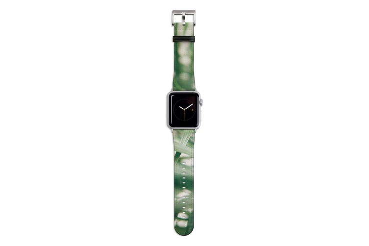 For Apple Watch Band 44mm/42mm PU Leather Silver Lugs  Indoor Green Plant