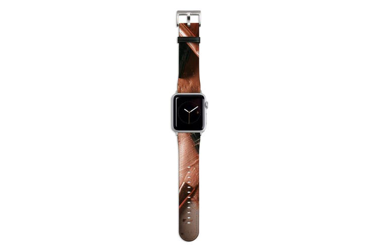 For Apple Watch Band 44mm/42mm PU Leather Silver Lugs  Makeup Beauty Flatlay