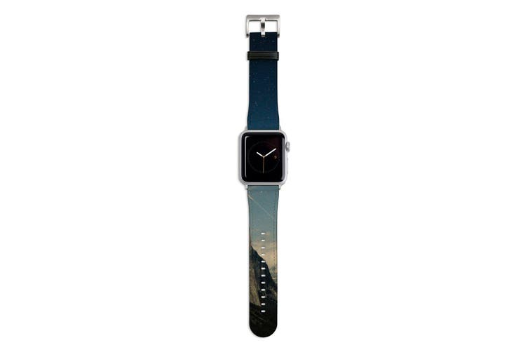For Apple Watch Band 44mm/42mm PU Leather Silver Lugs  Mountain Magic Hour