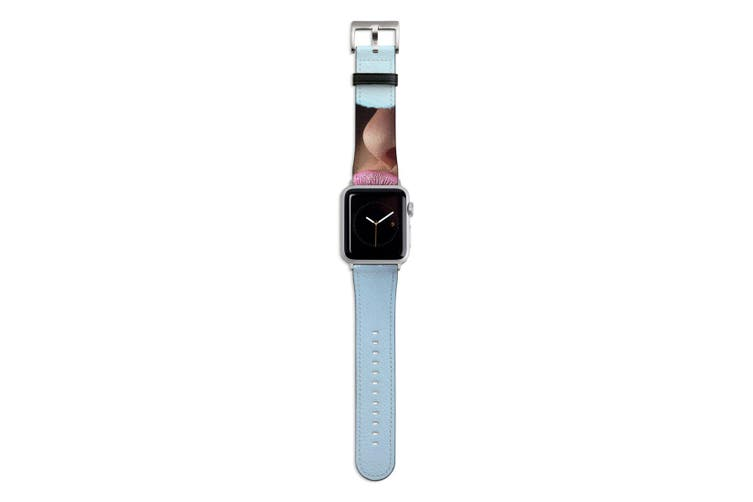 For Apple Watch Band 44mm/42mm PU Leather Silver Lugs  Pink Lips