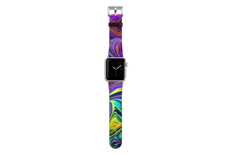 For Apple Watch Band 44mm/42mm PU Leather Silver Lugs  Purple Flowing Rainbow