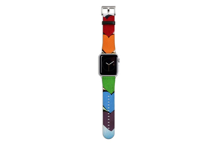 For Apple Watch Band 44mm/42mm PU Leather Silver Lugs  Rainbow Hearts