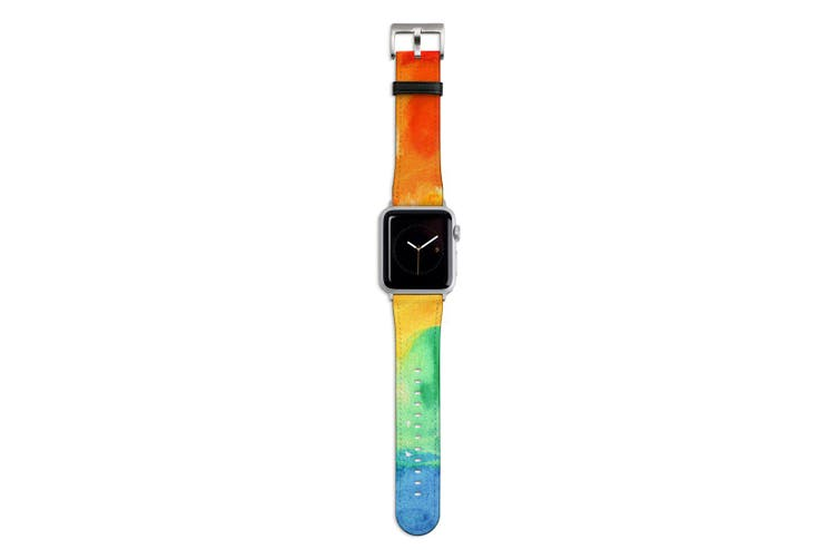 For Apple Watch Band 44mm/42mm PU Leather Silver Lugs  Rainbow Watercolour