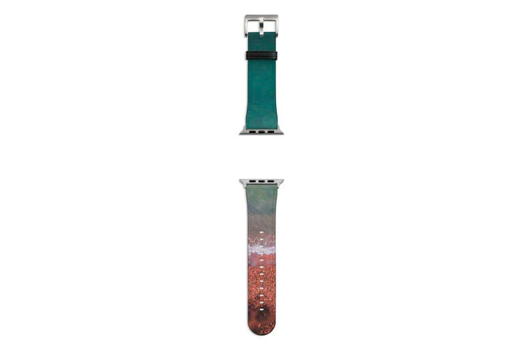 For Apple Watch Band 44mm/42mm PU Leather Silver Lugs  Red & Blue Shore