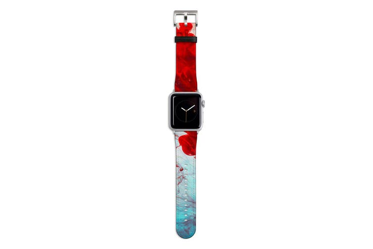 For Apple Watch Band 44mm/42mm PU Leather Silver Lugs  Red Yellow & Blue