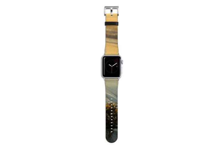 For Apple Watch Band 44mm/42mm PU Leather Silver Lugs  Seaweed Sunset