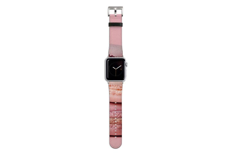 For Apple Watch Band 44mm/42mm PU Leather Silver Lugs  Pink Macarons
