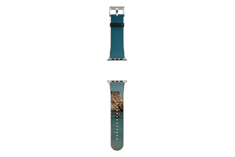 For Apple Watch Band 44mm/42mm PU Leather Silver Lugs  The Kayak & The Rock