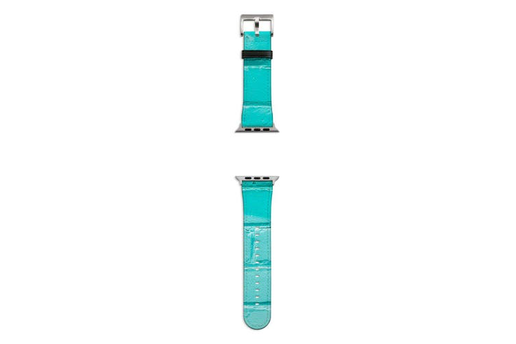 For Apple Watch Band 44mm/42mm PU Leather Silver Lugs  Turquoise Brick Wall