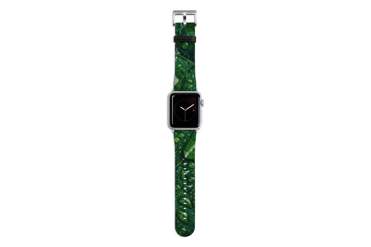 For Apple Watch Band 44mm/42mm PU Leather Silver Lugs  Water Droplets Green