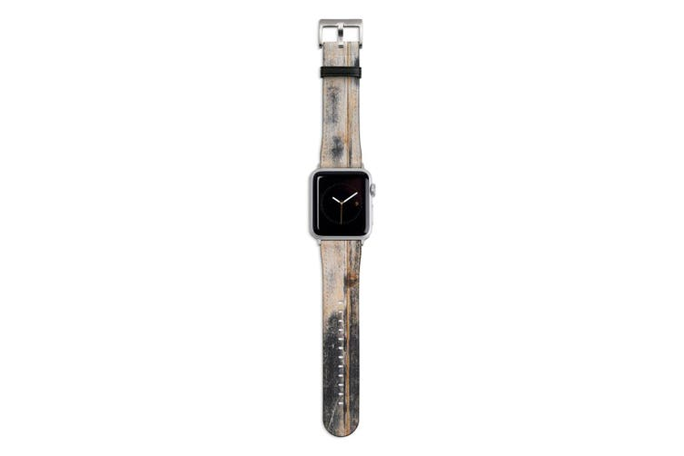 For Apple Watch Band 44mm/42mm PU Leather Silver Lugs  Weathered Wood Texture