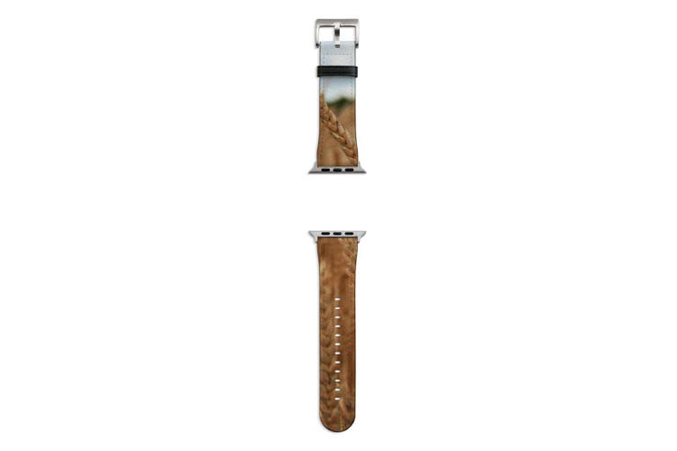 For Apple Watch Band 44mm/42mm PU Leather Silver Lugs  Wheat Field