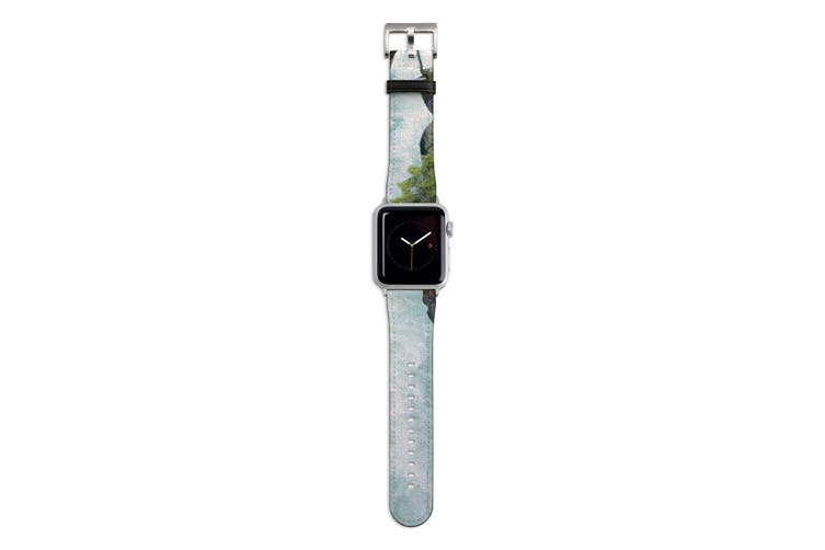 For Apple Watch Band 44mm/42mm PU Leather Silver Lugs  White Water River