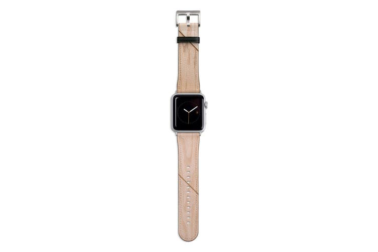 For Apple Watch Band 44mm/42mm PU Leather Silver Lugs  Wooden Effect